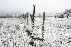 Photo clôture enneigée
