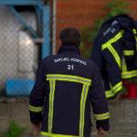 Photo pompier en fin d'exercice