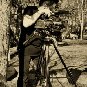 Tournage vidéo avec caméra sur pied